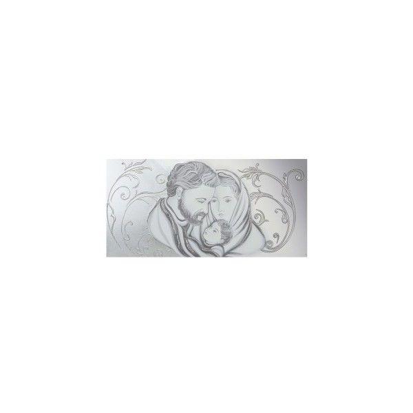Capezzale per camera da letto classica Sacra Famiglia floreale argento via Polyvore