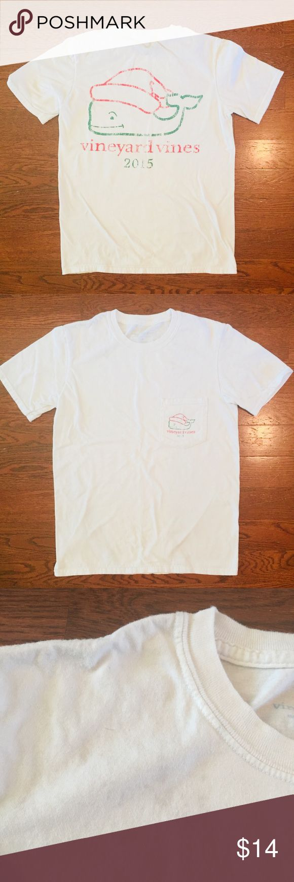 Vineyard Vines White Short Sleeve T Shirt Vineyard Vines CHILD White Short Sleeve T Shirt  Size Small  Xmas Holidays theme 2015 100% cotton Preowned. Some light stains along shoulders on both sides. See pictures. Vineyard Vines Shirts & Tops Tees - Short Sleeve