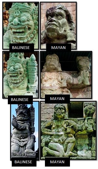 BALINESE (LEFT): Note the face, right hand, left hand, and left foot. This fearsome looking Balinese deity marks the entrances to Balinese t...