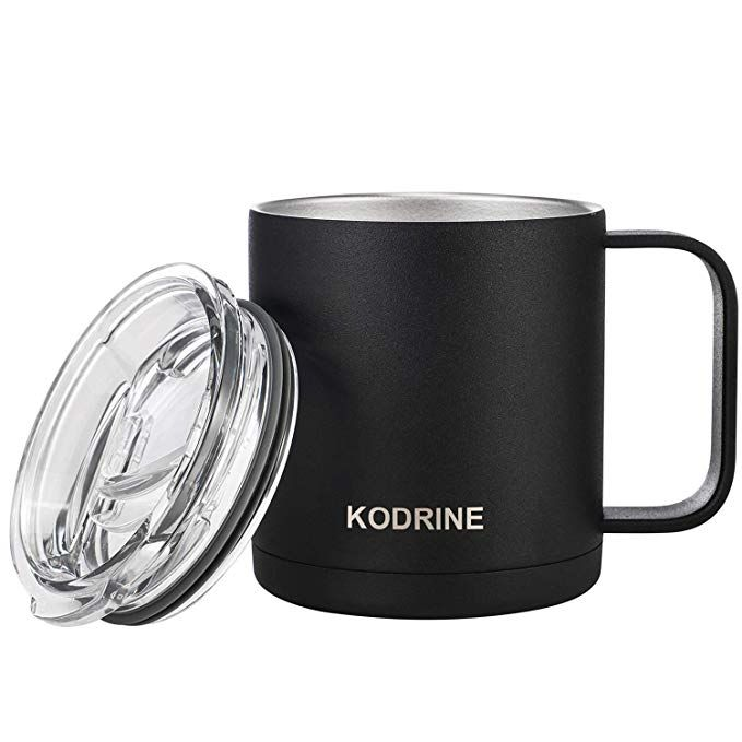 12 Oz Double Wall Vacuum Insulated Stainless Steel Coffee Mug With Lid And Handle Bpa Free Dishwasher Stainless Steel Coffee Mugs Mugs Stainless Steel Coffee