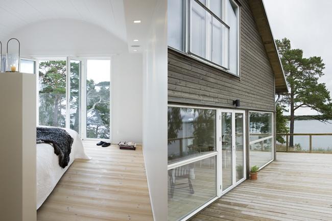 Villa Kalvudden, Sweden Bespoke furnishings, sauna, fireplace, finishes and surfaces and interior lighting scheme.