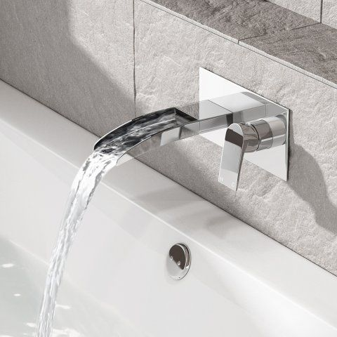 Avis II Wall Mounted Waterfall Bath Filler Mixer Tap - soak.com