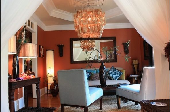 Burnt Orange Walls Warm Interior Living Room
