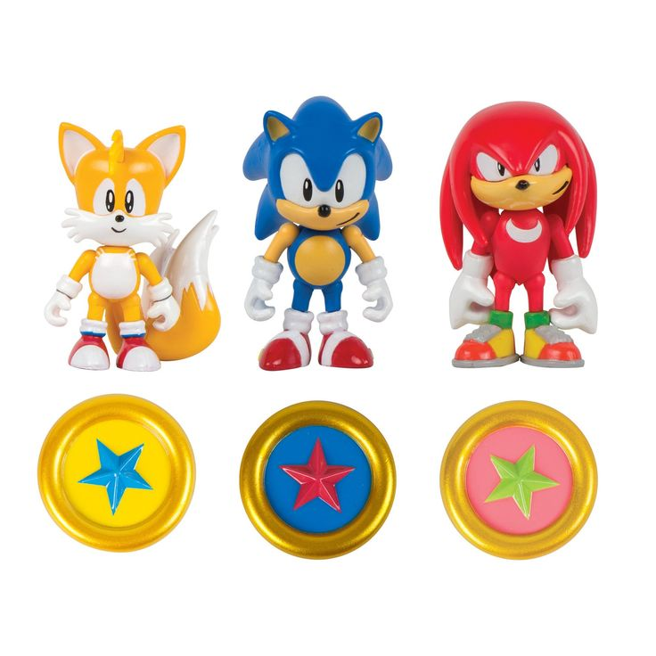 "Sonic Collector Series 3"" Figure Pack with Ring. Includes 3 articulated original Sonic characters: Sonic, Knuckles and Tails. Each character comes with exclusive ring. Suitable for ages 4 years and up."
