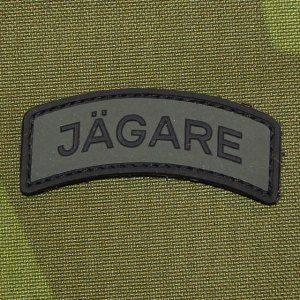 All flat and hard looking Jägare tab patch in black and green