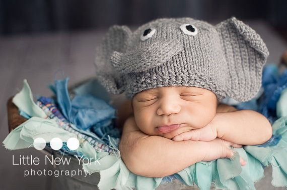 Baby elephant newborn/ baby hat by MarysKnits, $20.00