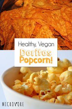 Vegan Dorito Popcorn - pop 1/2 c popcorn in brown bag in microwave, mix together 1/4 c nutritional yeast, 1 t ea garlic powder, onion powder, cumin, paprika, chili powder, & 1/4 T cayenne, put popcorn in bowl & spritz w/ lemon juice, then pour on spice mix & turn popcorn to coat