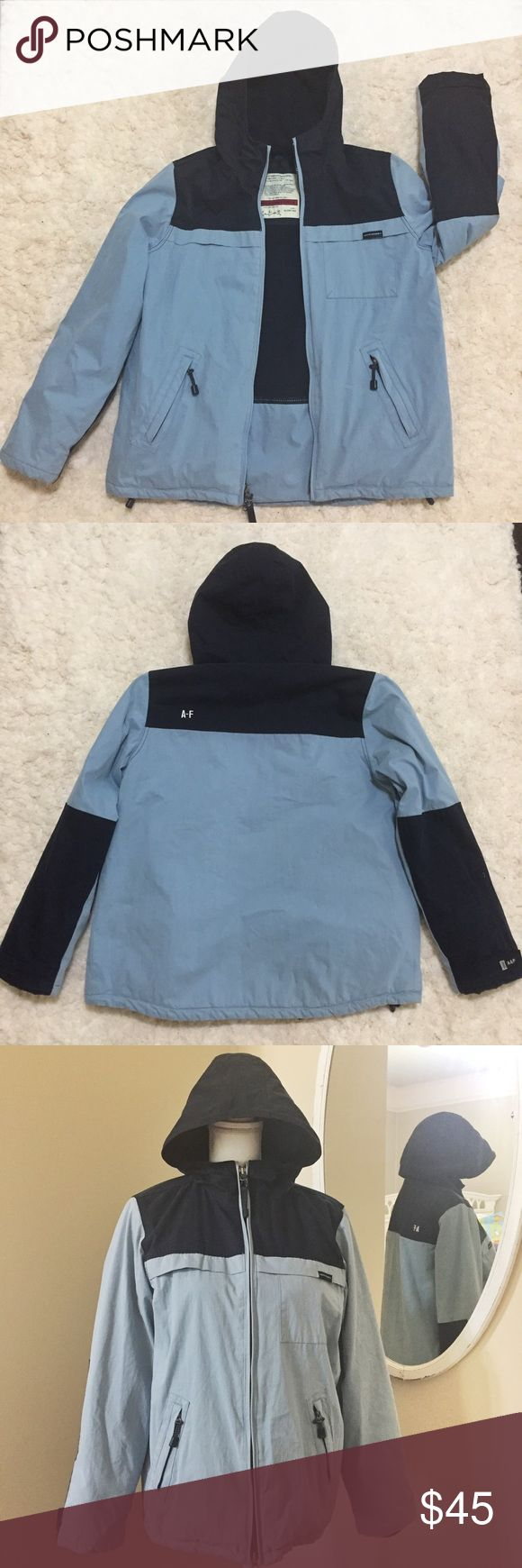 •Abercrombie & Fitch• Men's Sm Fleece Lined Jacket This jacket from Abercrombie & Fitch is in EUC and features a water resistant light blue exterior with navy accents, double zip main closure with side zip pockets, fleece lining throughout, attached hood, zip pocket on left sleeve and another inside jacket, and chest pocket. Perfect for the upcoming cooler weather or a ski trip! Bundle and save on shipping! Abercrombie & Fitch Jackets & Coats Ski & Snowboard