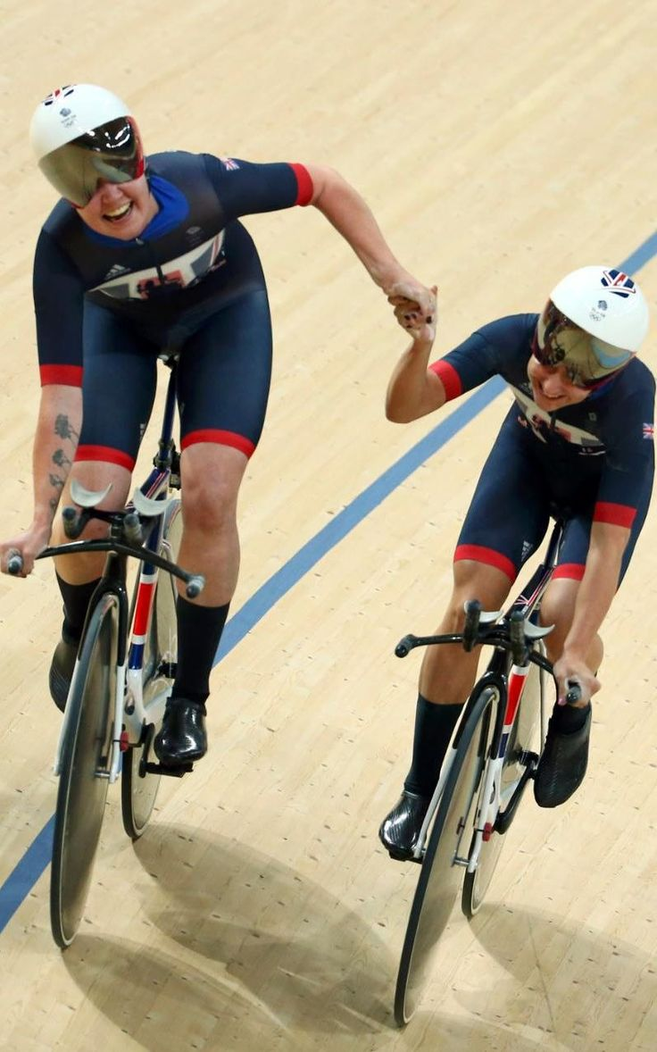 Kate Archibald (GBR) of Britain and Laura Trott (GBR) of Britain celebrate…