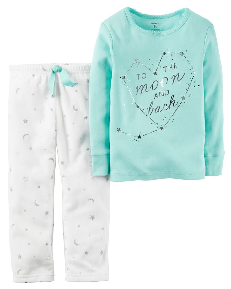 Complete with plush fleece pants and a cozy cotton top, this 2-piece PJ set is…
