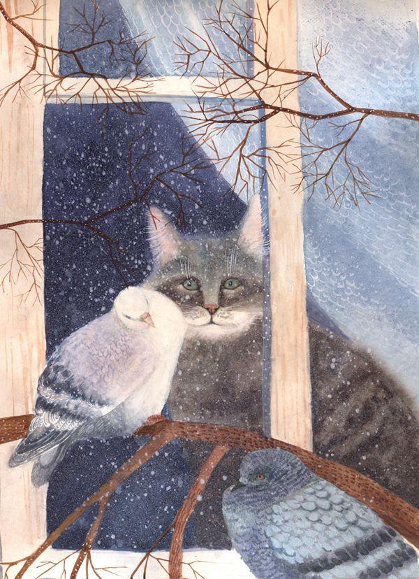 """""""Cat wants to go on a walk"""" by Katya Miloslavskaya"""