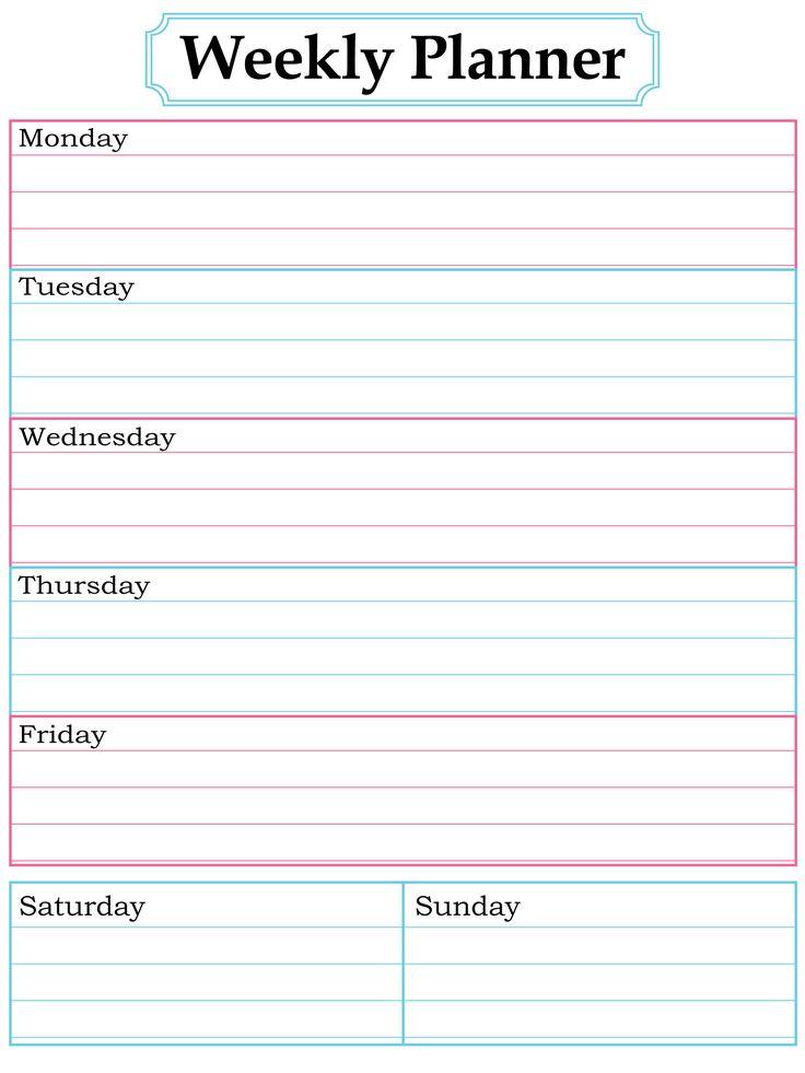 59 best images about Printable Weekly Calendars – Printable Weekly Planner