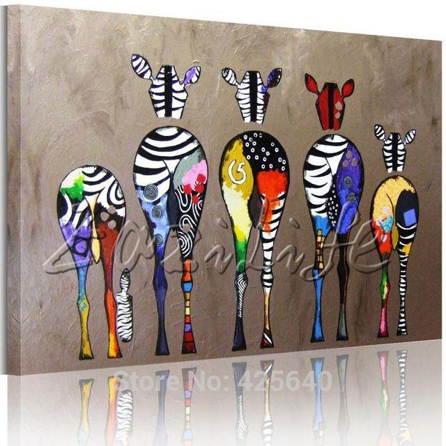 Cebra pinturas al óleo Del Arte Pop lienzo pintado a Mano Andy Warhol Arte de La Pared Imágenes Animales Cuadros Decoracion del Hogar Para la Sala de estar