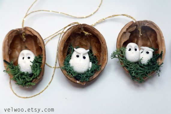 Owl woodland ornaments walnut shell ornaments Nature by Velwoo