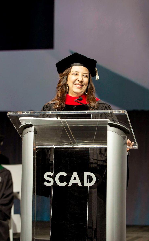 """Be humble, not shy."" Alumna Faten Alshazly's wisdom to SCAD grads. https://www.youtube.com/watch?v=RB9CzYttYPs …"