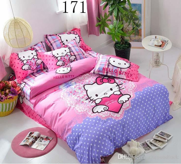 Cartoon, Child Adult Hello Kitty Bedding Sets Twin Queen Single Bed Double  Size Quilt Cover