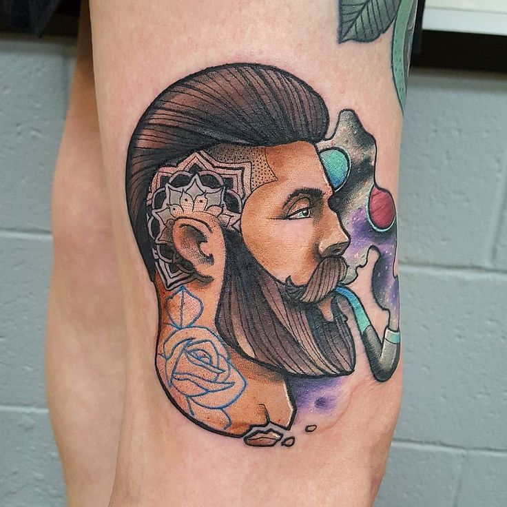 Tattooed Bearded Man by @monnet_tattoo at Electric Panther Tattoo Gallery in Cabot Arkansas. #beardedman #mandalatattoo #rosetattoo #monnettattoo #monnet_tattoo #electricpanthertattoo #electricpanthertattoogallery #cabot #arkansas #tattoo #tattoos #tattoosnob