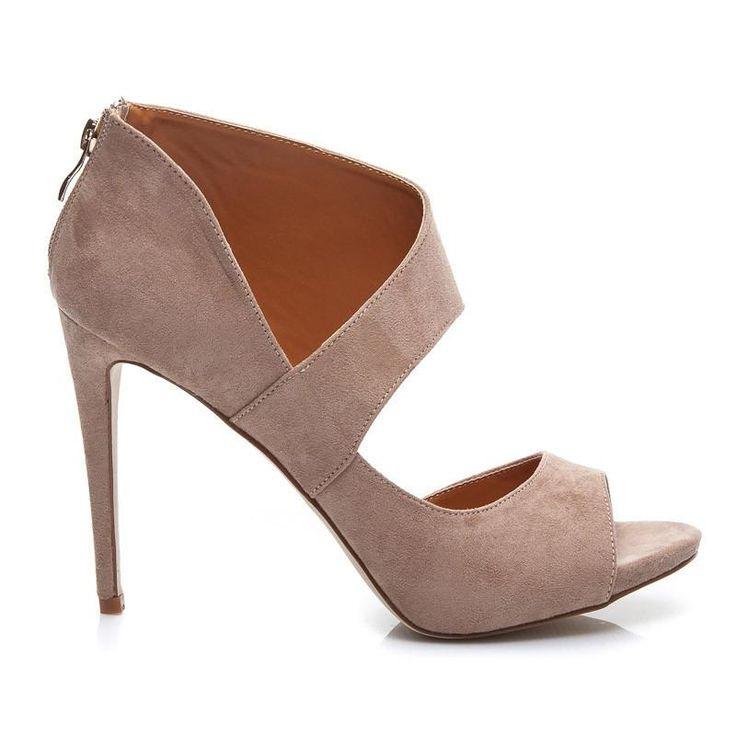 Asymetryczne sandały szpilki zamszowe