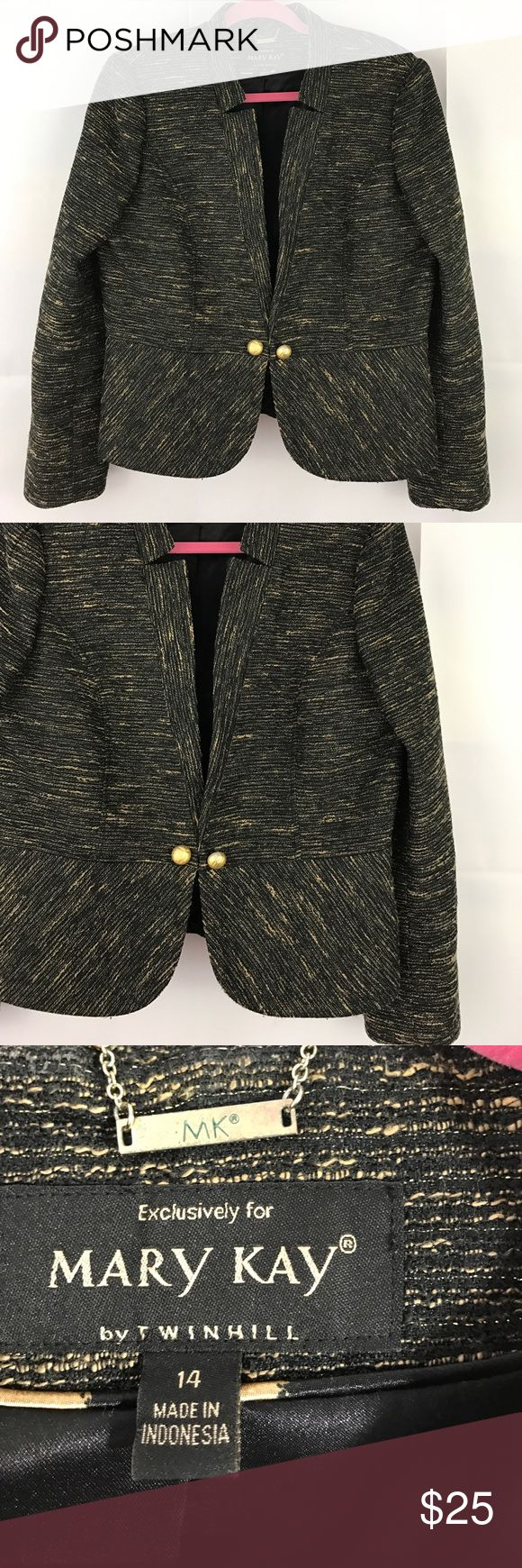 "Mary Kay by Twinhill size 14 Gold & Black Blazer Mark Kay Blazer Gold and Black glittery. Size 14, 22"" in length, 21"" across front of bust Mary Kay by Twinhill Jackets & Coats Blazers"