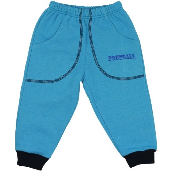 Pantaloni trening groși turcoaz cu buzunar imprimeu fotbal de la http://magazin.liloo.ro