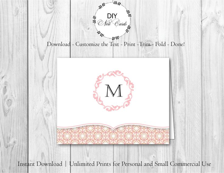 Best Floral Monogram DIY Printable Note Cards Images On Pinterest - Printable note card template