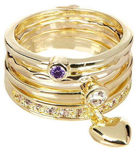 4 PCS CZ With Moveable Heart Wholesale Gemstone Jewelry Stackable Ring Set $15.43 Per Set Sold In 2 Set Per Size Pack  CZ With Moveable Heart Wholesale Gemstone Jewelry Stackable Ring Set