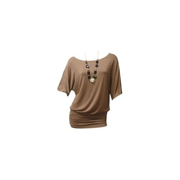 Mocha Short Sleeve Jersey Batwing Top ❤ liked on Polyvore featuring tops, t-shirts, short sleeve tee, short sleeve tops, brown tube top, short sleeve jersey and brown jersey