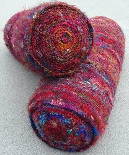 Bolsters I knit and crocheted using Sari silk.