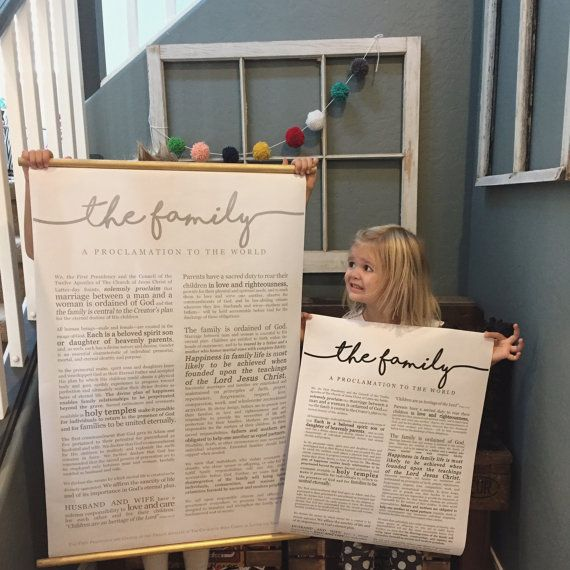 Cool Modern Design of The Family Proclamation from Print it Engineer. Sold on Etsy- these are HUGE and beautiful. Great LDS Art for the home.