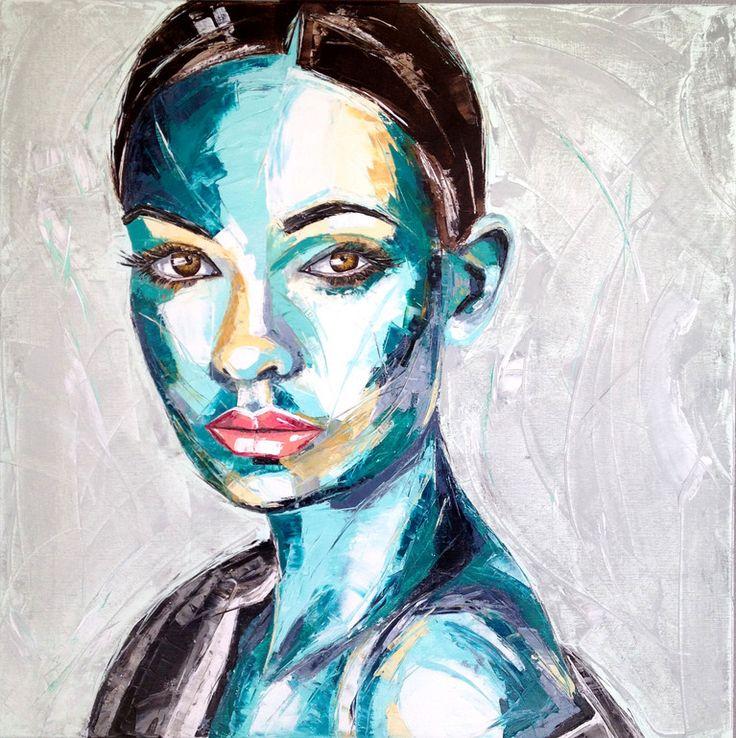 """Saatchi Online Artist: Charlene van den Eng; Oil, 2012, Painting """"Femme 14, 110 x 110 cm."""""""