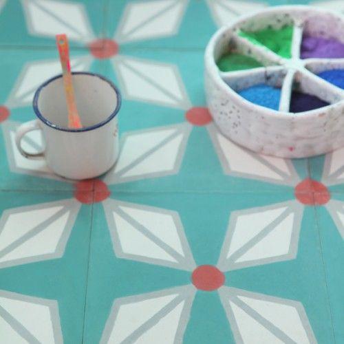 Carreau de ciment Hélium vert canard - Petit Pan - vivre en multicolore