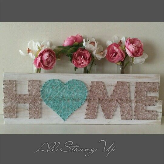 awesome Home string art. Love heart in aqua. All Strung Up...