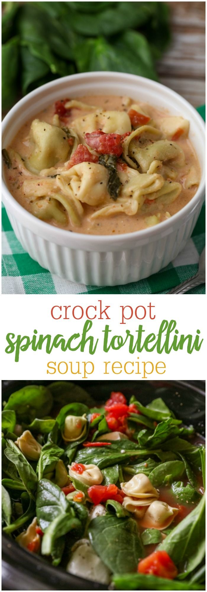 Crock Pot Tortellini and Spinach Soup - little prep time and an amazing result! { lilluna.com } A hearty soup filled with cheese tortellini, spinach, tomatoes, and lots of spices!!