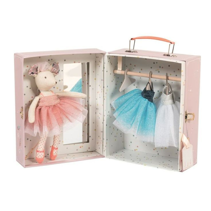 Il Etait Une Fois Ballerina Mouse Doll with Wardrobe Moulin Roty
