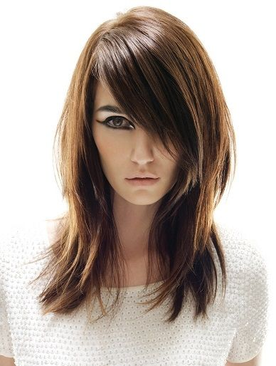 A Long Brown Straight Womens Hairstyle by Tigi (Remix Collection)