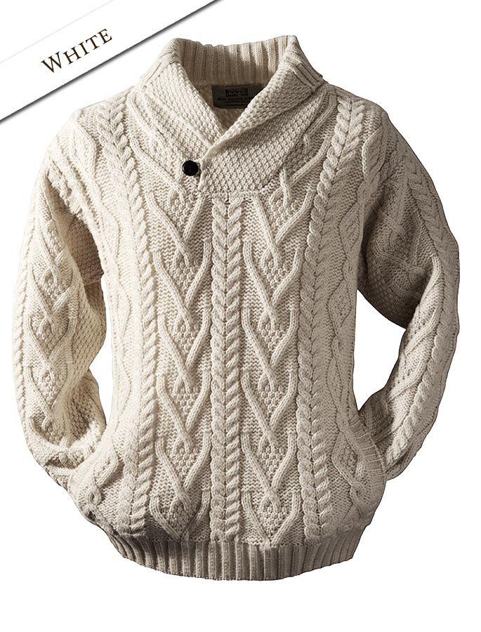 02 Shawl Neck Sweater - One Button - White