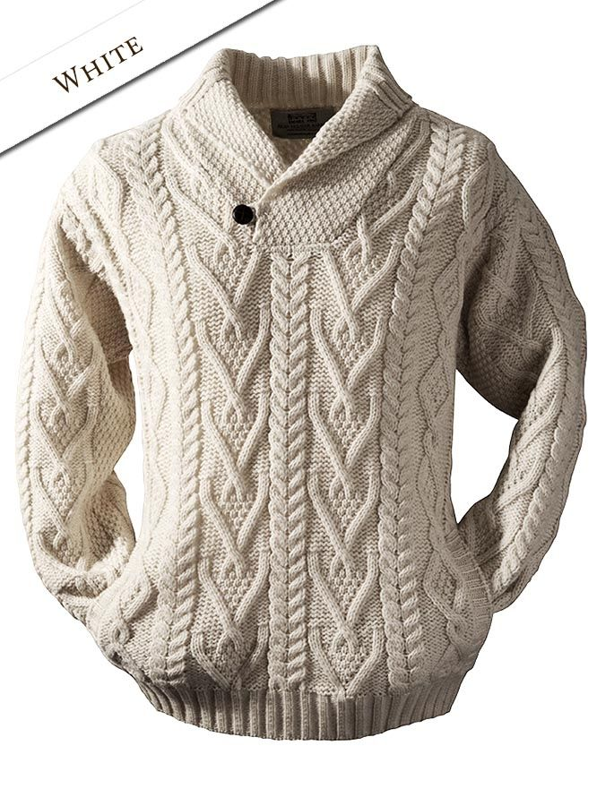 02 Shawl Neck Sweater - One Button - White