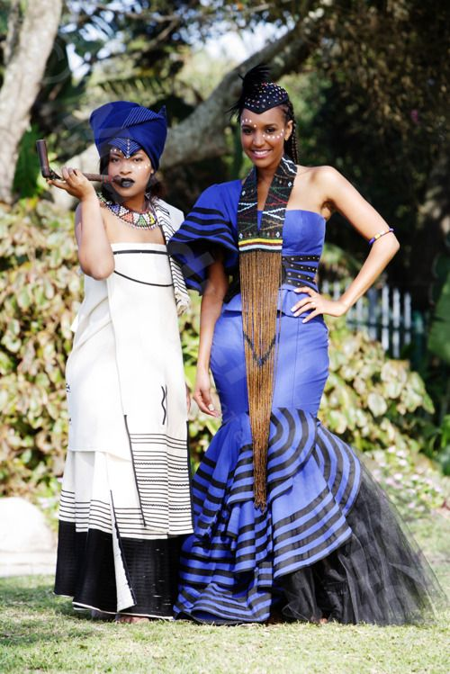 blck/white outfit is a traditional outfit worn by married Xhosa women of the Eastern Cape, South Africa. The other one is a modernised  version!