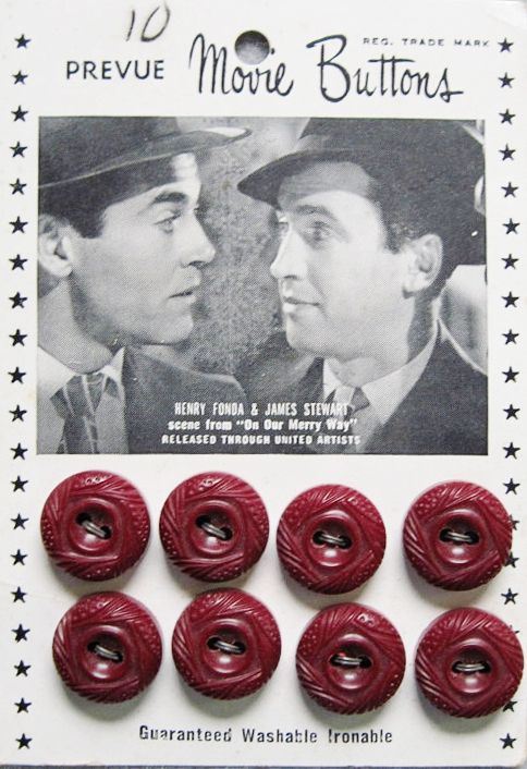 """Vintage Movie Star Button card featuring  Henry Fonda and Jimmy Stewart in """"Our Merry Way""""  1948."""