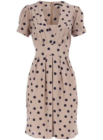 $59 Dorothy Perkins Blue Spot Tie Back Dress. I love the 40's feel this dress has while still being current and gorgeous.
