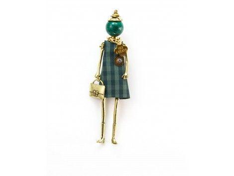 Le Carose brooch green fancy fabric dress