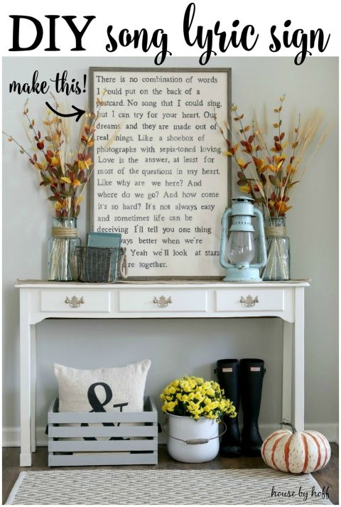 DIY Song Lyric Sign via House by Hoff