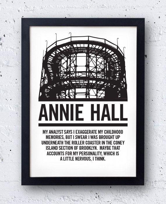 Annie Hall Film Poster - original bestplayever print - Woody Allen Diane Keaton Manhattan