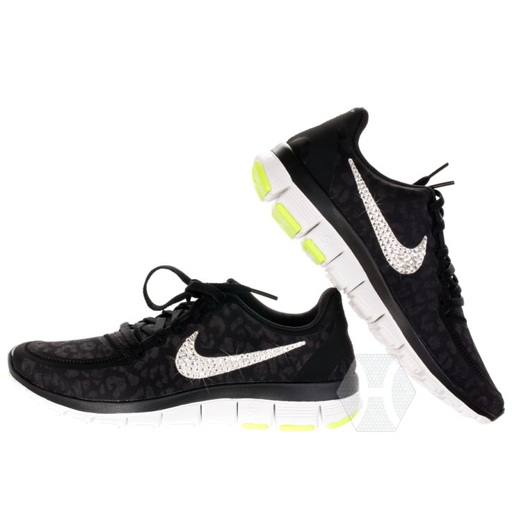 Nike Free 5.0 v4 in Black/Silver/Lime Cheetah with Harriet and Hazel  Swarovski
