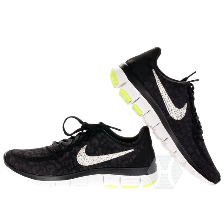Nike Free 5.0 v4 in Black/Silver/Lime Cheetah with Harriet and Hazel  Swarovski