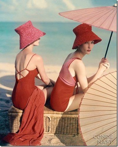 1963, Under Parasols at the Beach by Louise Dahl-Wolfe for Vogue