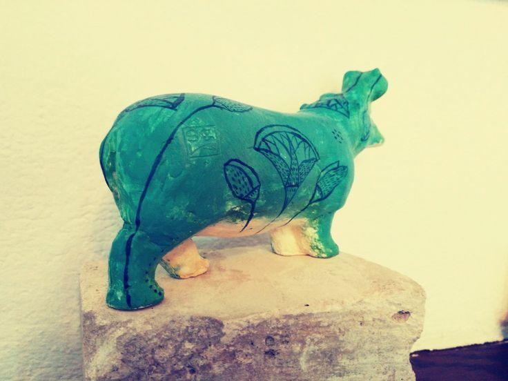 """""""Egyiptomi"""" víziló. Festett gipsz/ """"Egyptian"""" hippopotamus. Painted plaster. 19 cm"""