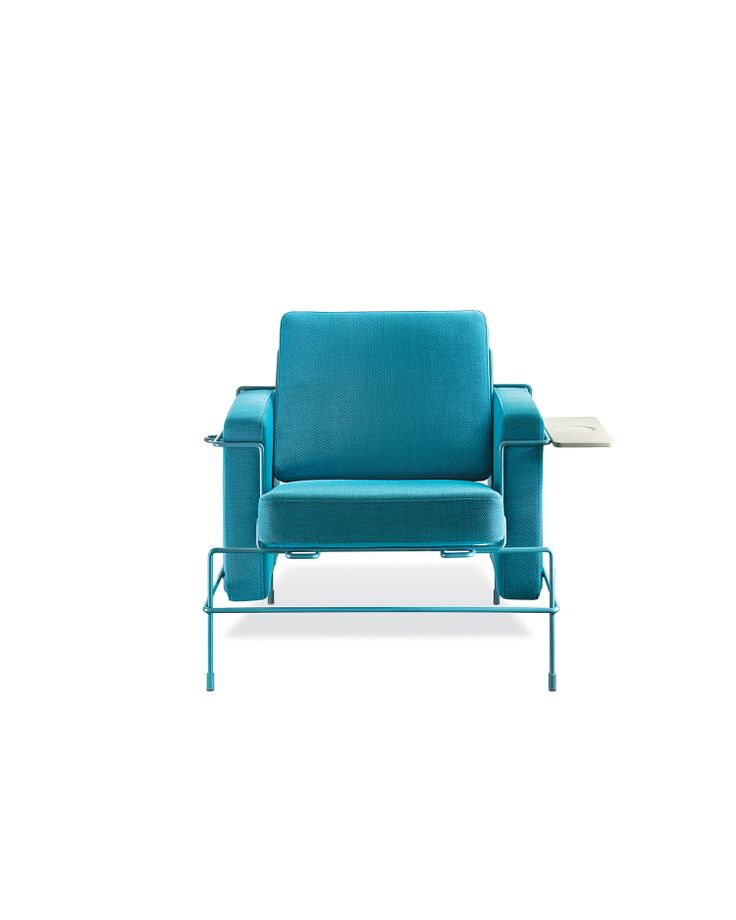 Traffic Armchair  Grcic updates Le Corbusier–era steel-tube furniture with a collection of saturated seating framed in powder-coated metal.