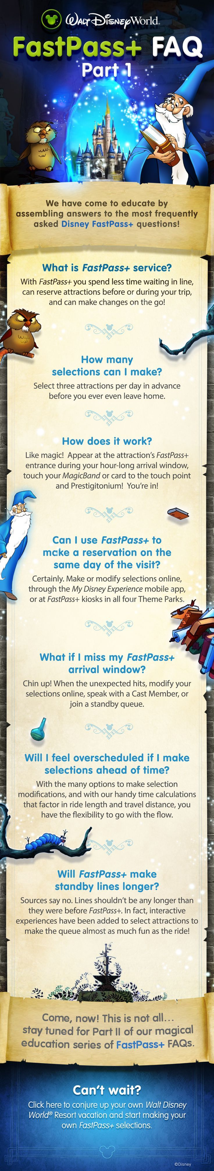 Learn the basics of FastPass+ with these FAQs from Walt Disney World! | Note: the link goes to Disney's official page about FastPass+, My Disney Experience, and MagicBands