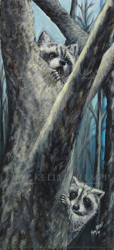 """Realism by Amy Keller-Rempp Art. """"Curious Siblings"""", 12"""" by 20"""", acrylic on…"""